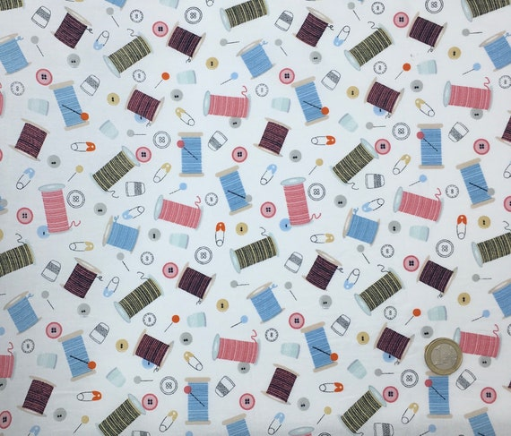 High quality cotton poplin dyed in Japan with haberdashery print