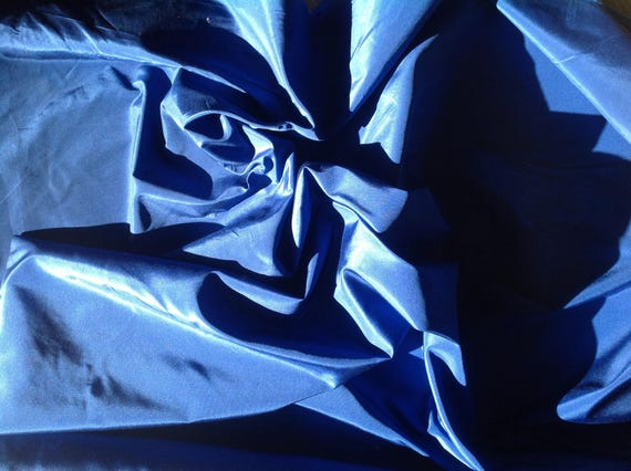Pure silk fabric, royal blue