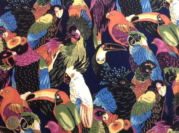 High quality cotton poplin, exotic birds print in navy