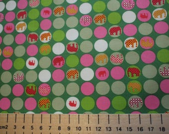 High quality cotton poplin, elephants on green