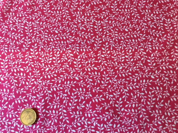 High quality cotton poplin, hot pink and white leaf print