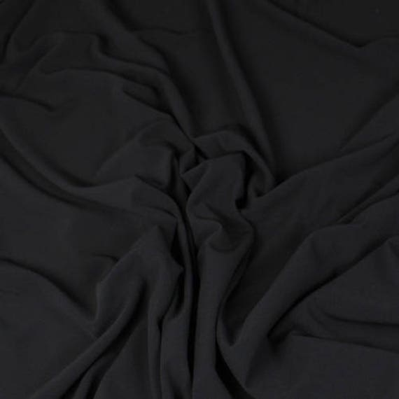 Genuine silk crepe fabric, black
