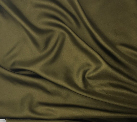 Pure silk sateen fabric with twill weave, Moss green