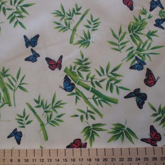 High quality cotton poplin, bamboo and butterflies on off white