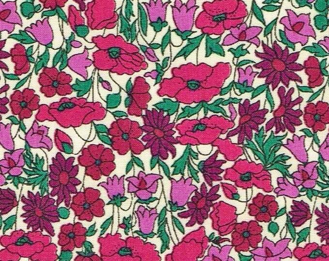 Tana lawn fabric from Liberty of London, purple petal and bud