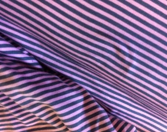 Striped grey/pink jersey cotton fabric