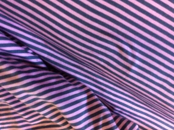 Striped grey/pink jersey cotton fabric
