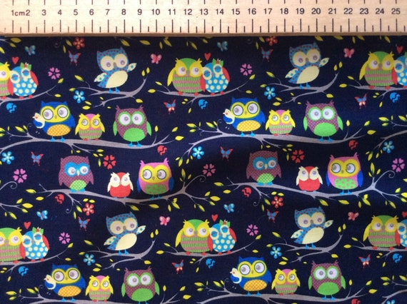 High quality cotton poplin printed in Japan, owls