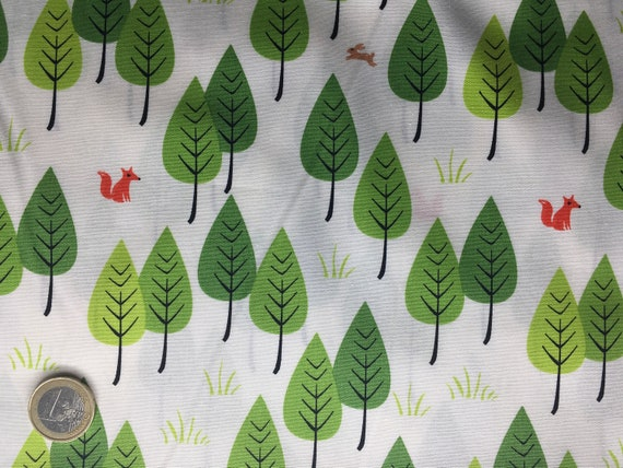 High quality cotton poplin dyed in Japan with foxes and rabbits