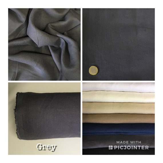 Heavy, washed linen, perfect for clothing and home accessories, grey