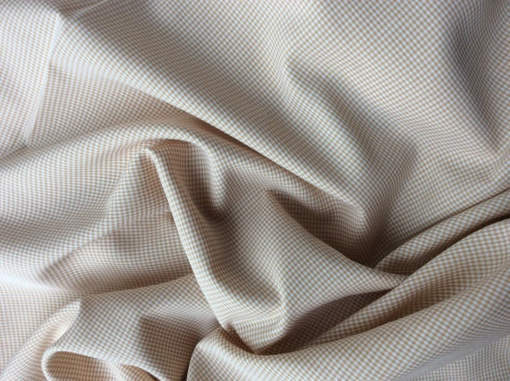 Cotton poplin fabric, beige check weave