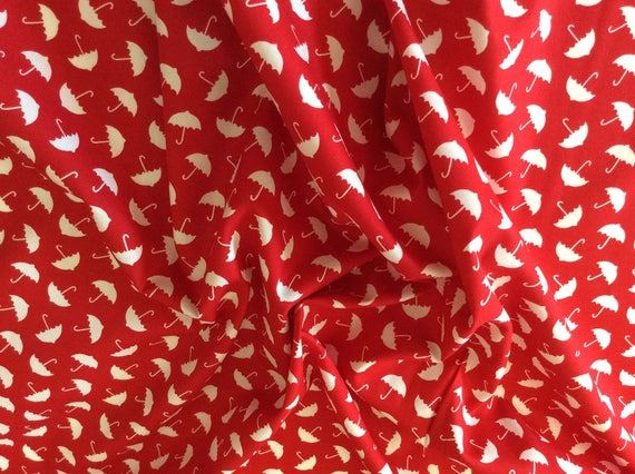 High quality cotton poplin, red and white umbrellas