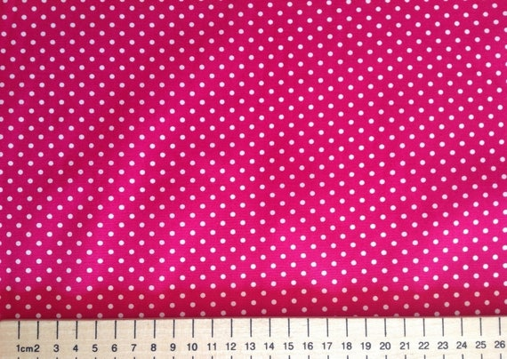 High quality cotton poplin printed in Japan, hot pink/white polka 3mm dots
