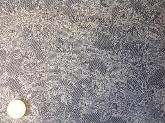 High quality cotton poplin, lace Print on gentian blue