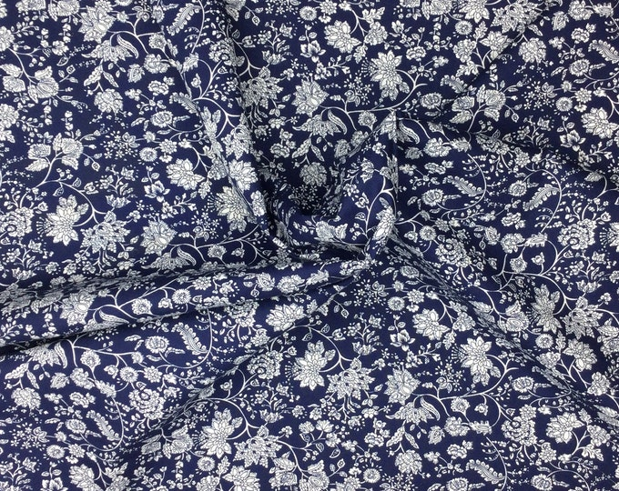 Cotton poplin with skulls, french floral on navy