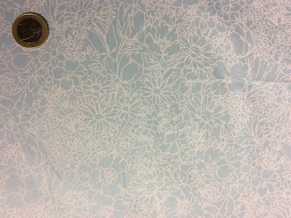 High quality cotton poplin dyed in Japan, blue floral print