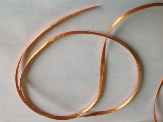 Gold orange double sided sateen ribbon