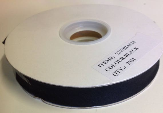 Roll of 25mm polycotton bias ribbon 18mm, black