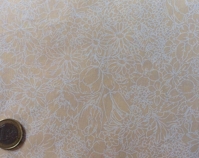 High quality cotton poplin, white floral print on beige