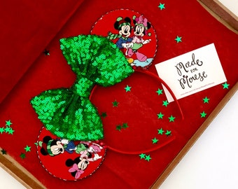 The Very Merry Christmas - Handmade Mickey & Minnie Mouse Christmas Inspired Mouse Ears Headband