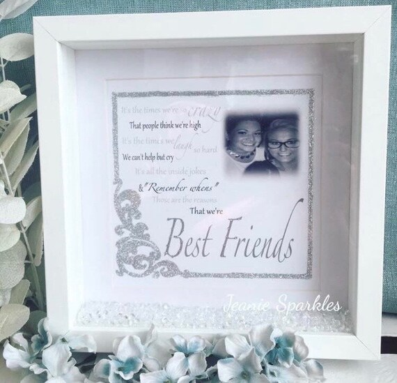 Best Friends Crazy Poem 23x23cm Box Frame With Glitter And Crystals