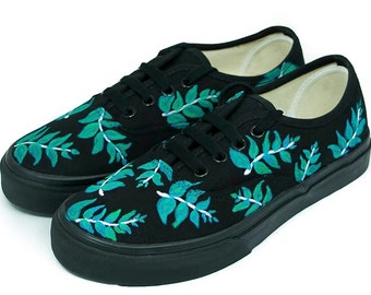 Black with Leafs Vans Authentic - Custom Shoes - Hand painted Shoe -Vans  Shoes - Black Shoes - Custom Vans - Black Vans - Custom Sneakers 77a766ce3913