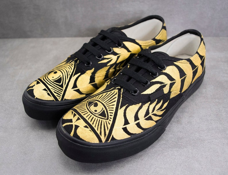 7ae2d83df7 Pyramid Eye Sneakers Illuminati Sneakers Design Gold and