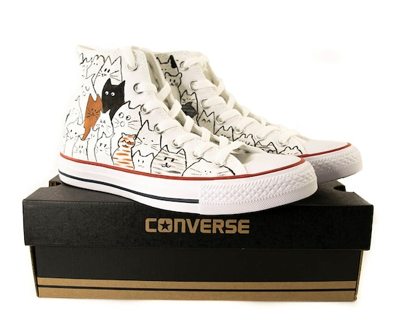 Choose: Converse high top or No Brand, cat shoes, custom converse, converse all star,hand painted sneakers,Chuck Taylor All Stars, Converse