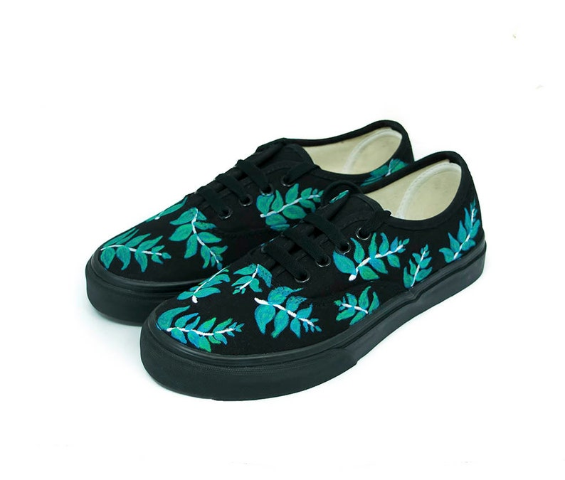 Black with Leafs Vans Authentic Custom Shoes Hand painted  10616058b