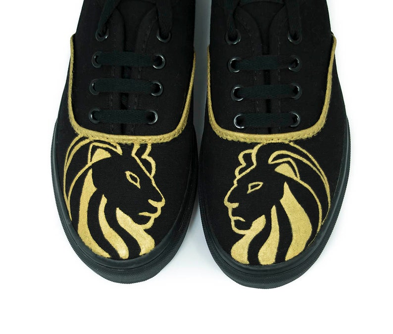 9c399d32bf Custom Gold Lion Head Shoes Custom Shoes Custom Sneakers