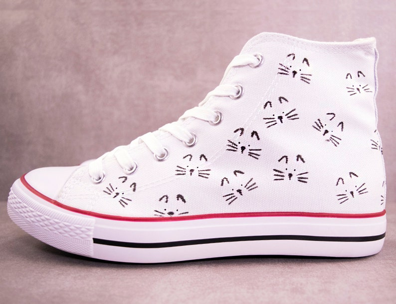 522902781a Cat faces sneakers Choose Converse or No Brand Custom