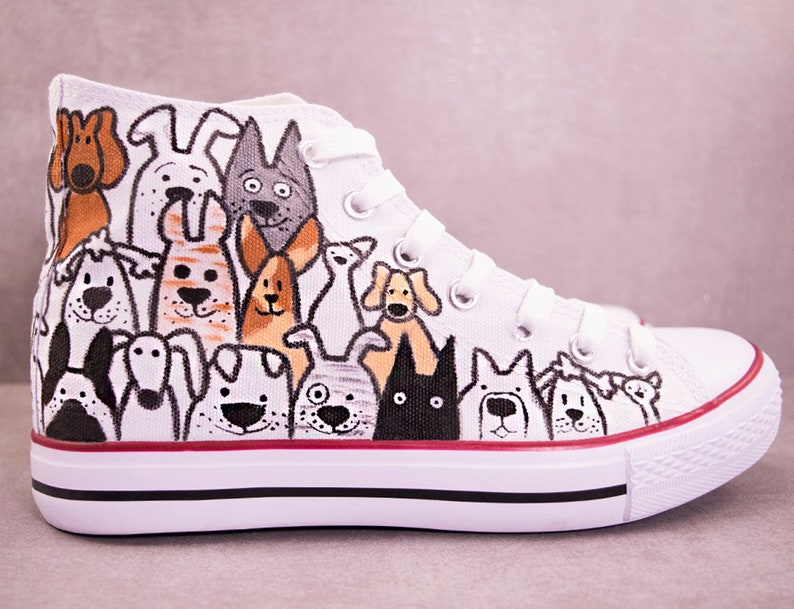 ca1572a26ae0c2 Dog Faces Choose Converse or No Brand Sneakers Custom | Etsy