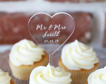 Pesonalised Wedding Cupcake Toppers Picks Sticks I Do Love Rustic Shabby Chic 10
