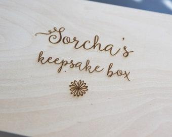 Personalised Keepsake Box - Engraved Wooden Box - Large Wooden Personalised Box- Personalised Memory Box - Custom Keepsake Box