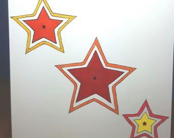 3 Star glitter hand drawn greeting card