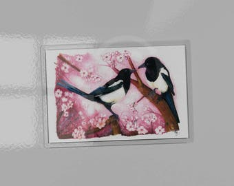Magpies art picture magnet. Acrylic magnet contains artwork print. British garden song bird art. 9.5cm x 6.5cm. Two For Joy. Pink Blossom.