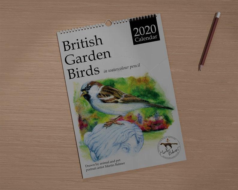 2020 Calendar British Garden Birds in watercolour pencil A3 image 0