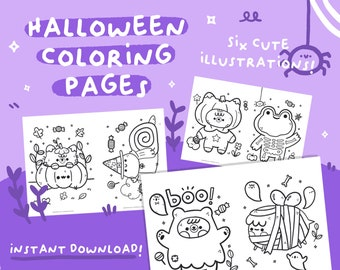 Halloween colouring pages with cute characters by Ilariapops