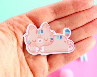 Mango the Cat takes a nap! Die-cut glossy vinyl sticker.