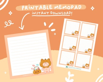 Printable Memo Pad Halloween theme with Mango the Cat, A4 PDF, Digital Instant Download.