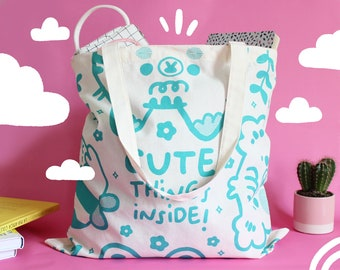 """Tote Bag """"Cute things inside"""", double printed with water-based ink, made with 100% certified organic cotton, eco friendly & reusable!"""
