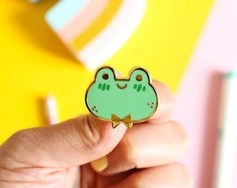 Puddle the Frog Hard Enamel Pin, Gold Nickel Plating, 30mm wide enamel pin.