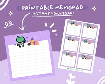 Printable Memo Pad Halloween theme with Puddle & Lettuce, A4 PDF, Digital Instant Download.