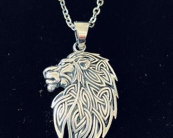 Retro design S925 Sterling Silver Lion Pendant    Charm diy Men necklace 14.75 gram