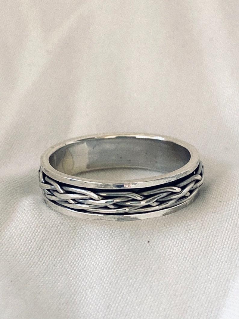 Handcast 925 Sterling Silver Irish Celtic Eternity Weave Spinner Spin Fidget Ring Band