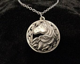 Unique Handcast 925 Sterling Silver Irish Celtic Horse Epona Pendant + Free Chain