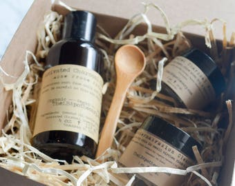 Acne Skin Care Set / Microdermabrasion / Organic Facial Cleanser / Acne Face Wash / Essential Oil /  Activated Charcoal Birthday Gift