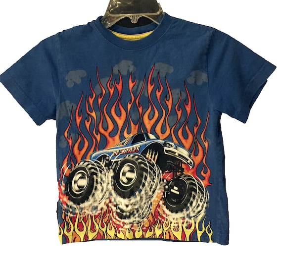 cce1f46f1 Kids Monster Truck Fire Flame T-Shirt | Etsy