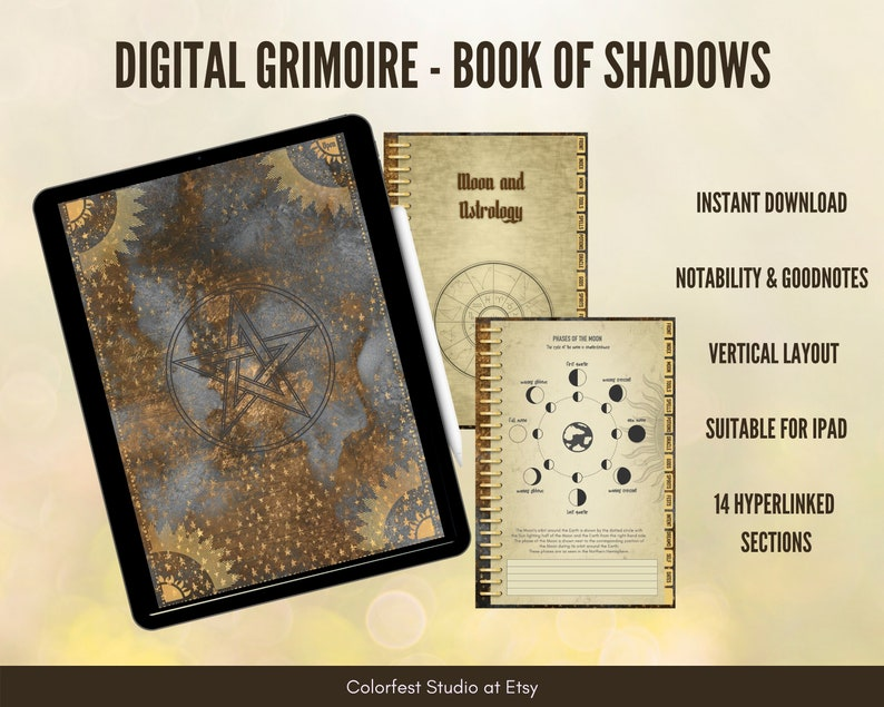 Digital Grimoire Book of Shadows. Witchcraft Book Suitable for image 1