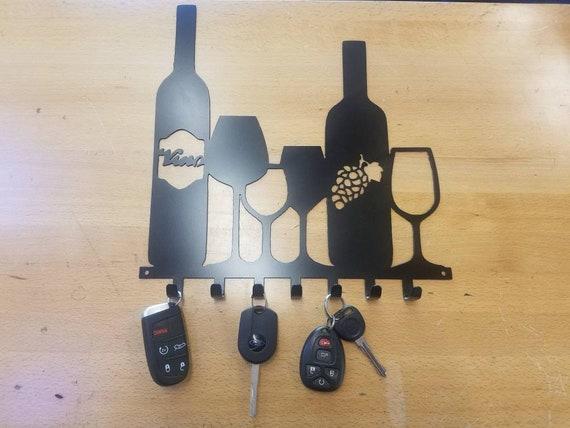 Wine glass bottle key fob chain holder metal Wall art Plasma | Etsy